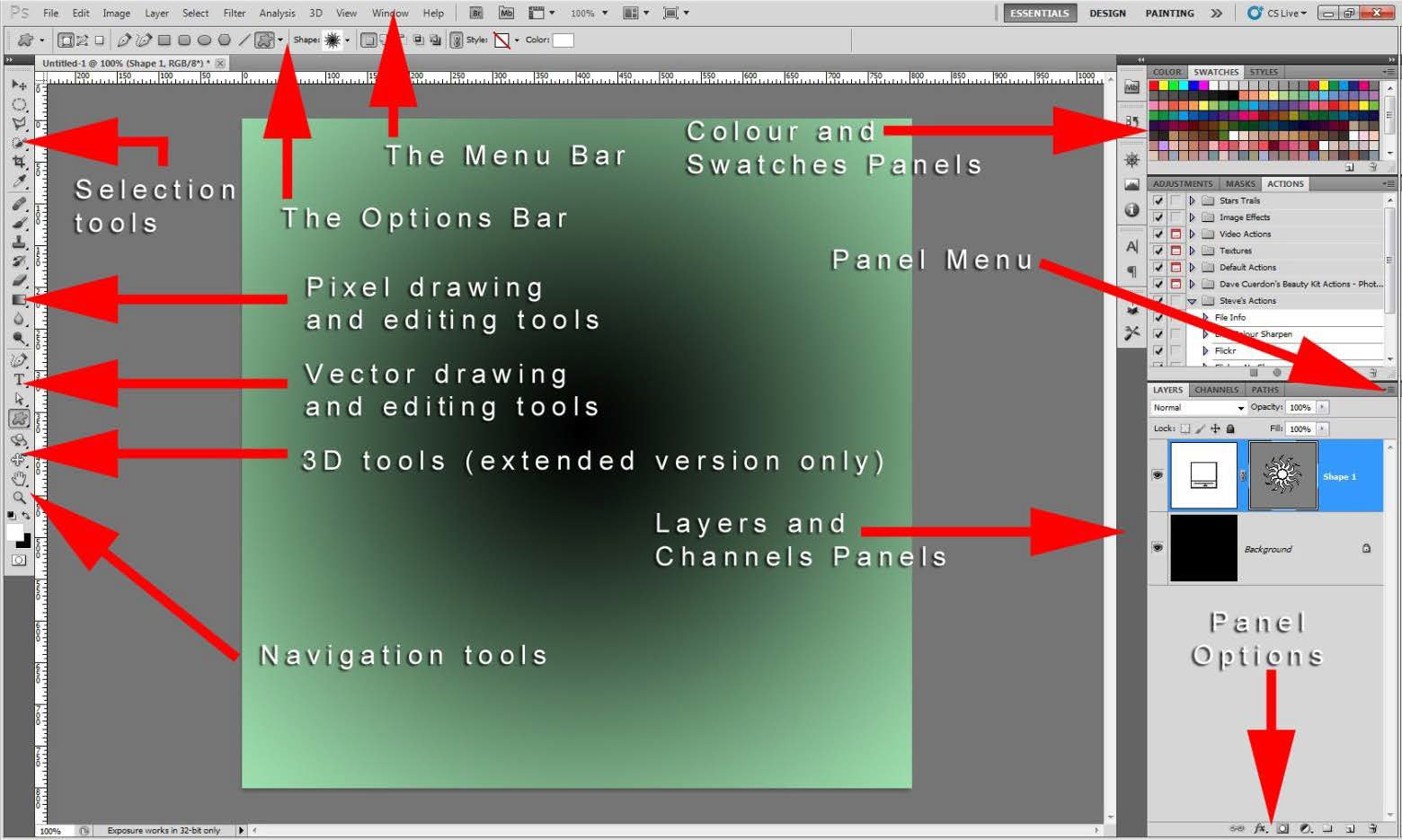the default Adobe Photoshop workspace layout
