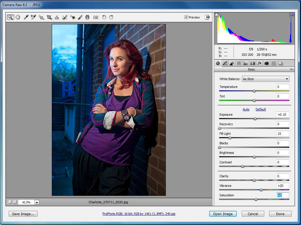 open a file in Photoshop camera raw